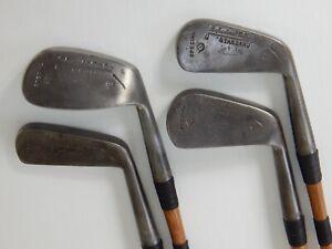 ANTIQUE RESTORED Tom Black 4-Piece (2,5,8,9) Wood Shaft Golf Club Iron Set 1920s