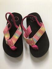 OP Girls Size 7/8 Black And Rainbow Flip Flops