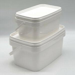 Kunststoffeimer mit Deckel 2,5L 5L 10L Bügel Lebensmittelecht Plastikeimer eckig