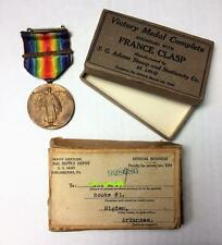 WWI VICTORY MEDAL Complete w/ France Clasp In Original Box Rare Shipper Military