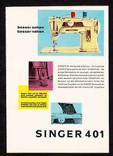 3w1725/vecchia pubblicità con loghi di 1960-MACCHINA CUCIRE SINGER 401