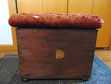 """HOWARD & SONS OTTOMAN HASSACK FOOT STOOL WITH STORAGE ANTIQUE """"RARE"""""""