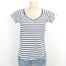 MANGO MNG T-Shirt Kurzarm Ringel Streifen Blau Weiß Gr. XS (BD421)