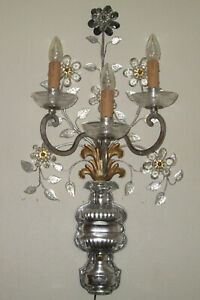 """VERY LARGE ITALIAN SCONCE ( 30"""" )  BY BANCI / FLORENCE - IRON AND CRYSTAL -"""