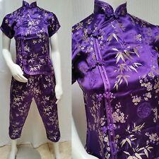 2 Piece CHEONGSAM QIPAO TOP & MATCHING PANTS - Purple & Gold - Size S