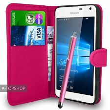 Rosa Funda Tipo Cartera Cuero Artificial libro para Nokia / Microsoft Lumia 650