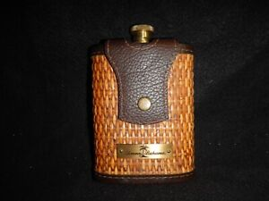 Vintage Tommy Bahama brass flask with leather and wicker WOW