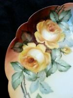 Antique hand painted Rosenthal Bavaria porcelain dish Yellow Roses