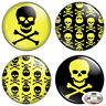 "Yellow Skull & Crossbones 1.25"" Pinback Button BADGE SET Novelty Pins 32 mm"