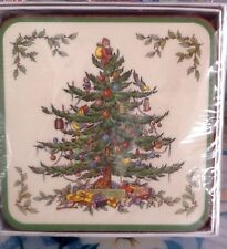 VINTAGE SPODE SET OF 6 SQUARE CHRISTMAS TREE DESIGN BEVERAGE COASTERS NEW IN BOX