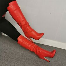 Ladies Sexy Red Pointy Toe Block Heel Knee High Boots Nightclub Shoes