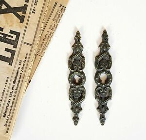 Scroll leaves 2 vintage escutcheon Key hole cover Furniture door salvage 4.72 in