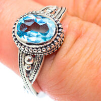 Blue Topaz 925 Sterling Silver Ring Size 7.5 Ana Co Jewelry R54783