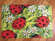 Red Black Ladybug Yellow Daisy Floral Green Bright Cushion Floor Mat Decor