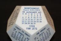 Vintage 1963 Northwest Orient Airlines Calendar Cube Dice Fan Jets 720B White