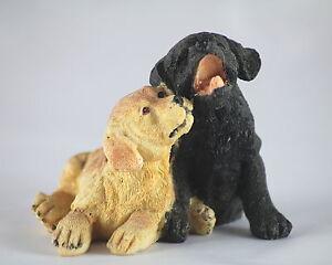 9.5cm LABRADORS - PAIR of LABRADOR PUPPIES - GOLD & BLACK - DOG ORNAMENT - GIFT