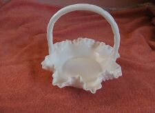 Vintage Fenton White Milk Glass Hobnail Wavy Basket