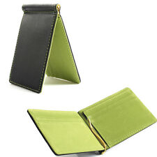 [Green] Mens Spring Money Clip Slim Wallet ID Credit Card Holder Faux Leather