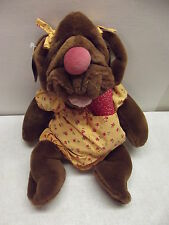 VINTAGE GANZ WRINKLES GIRL DOG PUPPET W/BONE HAIR RIBBONS DRESS & COLLAR
