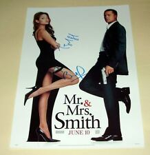 "MR & MRS SMITH CAST X 2 PP SIGNED POSTER 12""X8"" JOLIE"