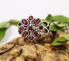 Round Natural Red Garnet 925 Sterling Silver Jewelry Anniversary Ring SR5413