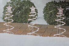 "SET 5 LIT SPIRAL TREE STAKES PATHWAY DRIVEWAY CHRISTMAS LIGHTS WHITE 18"" DECOR"