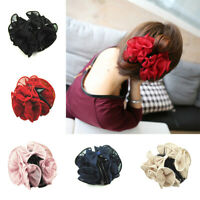 Large Silk Flower Bow Hair Claw Clip Hairgrip Hair Clamp Jaw Barrettes for Women