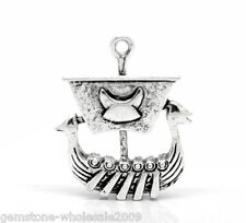 10PCS Wholesale Lots W09 Silver Tone Viking Pirate Ship Charm Pendants 27x22mm