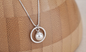 Round Pearl Pendant 925 Sterling Silver Jewellery Necklace Chain Women Love Gift