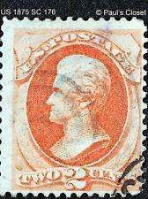 US 1875 SC 176 ANDREW JACKSON 2¢ ORANGE USED NO GUM F/VF