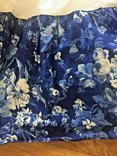 """Ralph Lauren Home Twin Size Bedskirt Dust Ruffle Blue Floral Rare 13.5"""" Drop"""