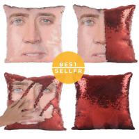 Nicolas Cage Pillow Sequin, Nicolas Cage Mermaid Pillow, Funny Pillow, Christmas