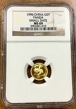 {BJSTAMPS}  China 1996 small date 5Y GOLD PANDA 1/20 Oz. NGC MS69