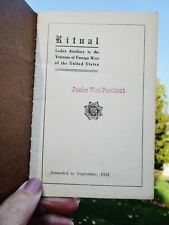 1933 Ladies Auxiliary Veterans Foreign Wars RITUAL BOOKLET Rules Ceremony Prayer
