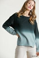 Umgee Blue Ombre Dye French Terry Knit Long Sleeve Top Sz Small Medium Large