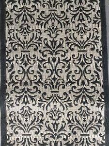 Next Runner Rug Black Beige Damask Style Pattern 300 X 66