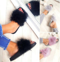 LADIES WOMEN FLAT FUR FLUFFY SLIDERS SLIPPERS COMFY SANDALS FLIP FLOP SHOES SIZE