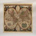 Vintage Mapamundi Estampada Tela Panel Make A Cojín Tapicería Manualidades