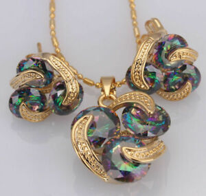 Stunning Gold Filled Geometric Style Mystic Rainbow Topaz Necklace Earrings Set