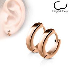 PAIR Stainless Steel Small Dome Hoop Huggie Earrings 2.5mm Wide 20g Men or Women