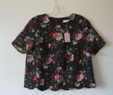 OASIS TOP BLOUSE Rose ORGANZA Black Mustard Green Red Scalloped Sz 8 NEW