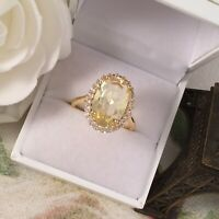 Vintage Jewellery Gold Ring with Citrine White Sapphires Antique Deco Jewelry