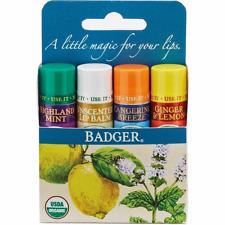 Badger Organic Classic Lip Balm Gift Set 4pcs - Soothing Calming & Moisturising