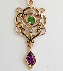 PE104 Genuine 9K or 14K Gold NATURAL Emerald Amethyst Suffragette Scroll Pendant