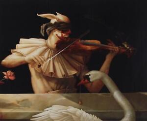 Michael Parkes 1989 Clown w Violin Swan Surrealism Exhibition Poster Music #S416