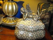 Victorian Art Nouveau Porcelain & Bronze Fairy Box Marked