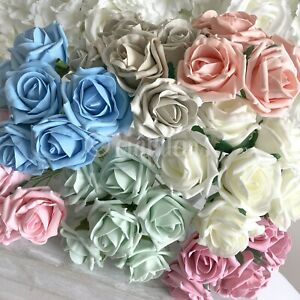 6cm Artificial Foam Flowers Vintage Cottage Fake Rose With Stem Wedding Bouquet