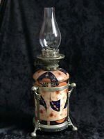 YOUNG'S ANTIQUE VICTORIAN PORCELAIN OIL TABLE LAMP ENCASED METAL FOOTED FRAME