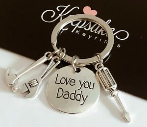 Love You Daddy Silver Tools Charm Keyring Hammer Gift Box Fathers Day Present