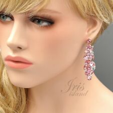 Rose Gold Plated Pink Crystal Rhinestone Wedding Chandelier Dangle Earrings 4352